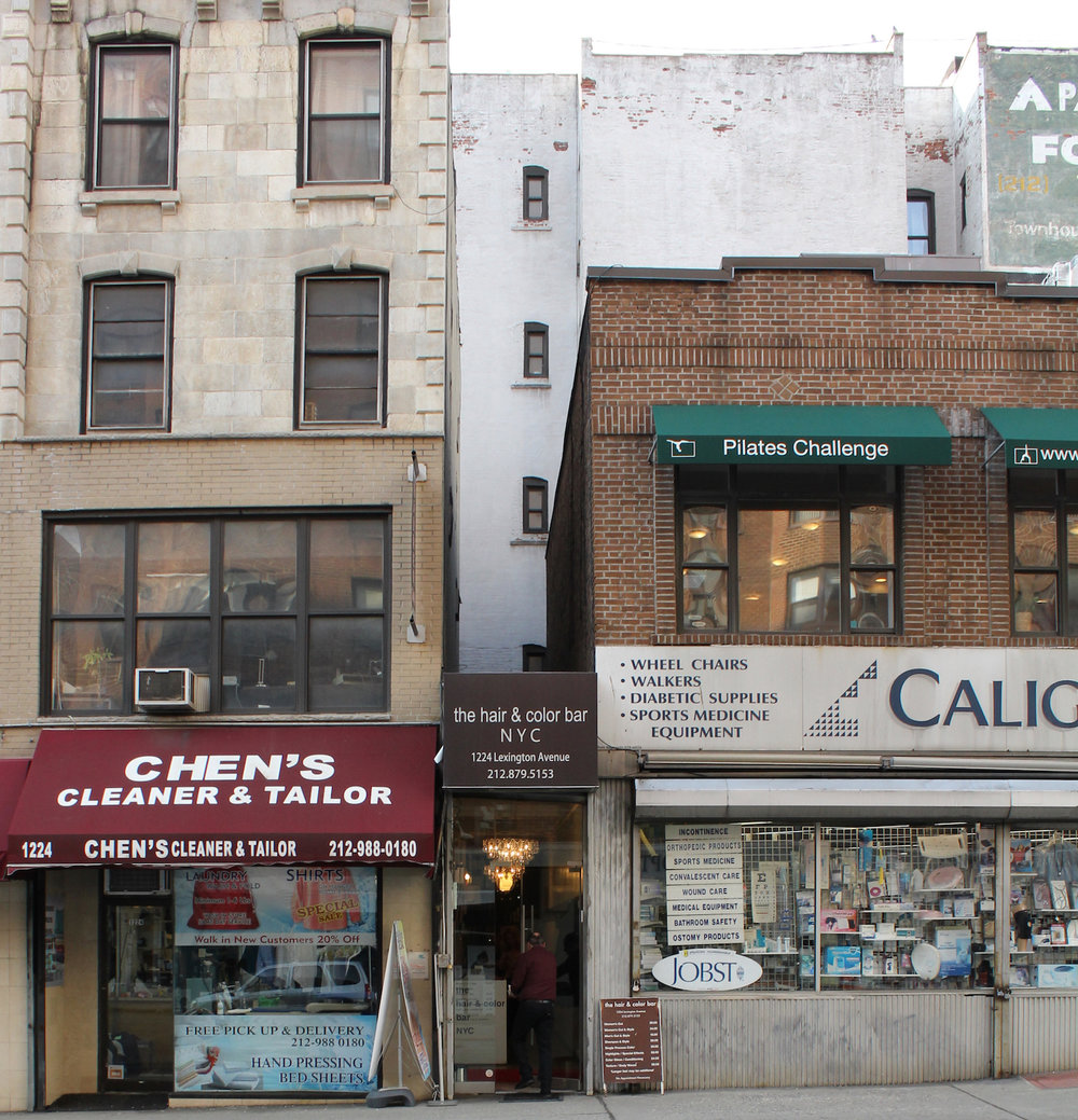 Many shops have come and gone on this stretch of Lexington Avenue. But most, like this dry cleaners and hair salon,still serve the needs of residents.