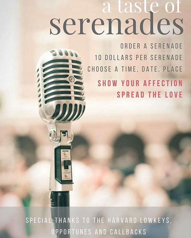 Looking for a last-minute Valentine's gift for your significant other? Look no further and order a serenade to give your loved one an unforgettable performance! The First Year Social Committee is partnering up with The Harvard Callbacks, The Harvard LowKeys, and The Harvard Opportunes, who will lend their voices to sing for people on February 16. One serenade is $10 but friends can split the cost amongst themselves to order for one friend. The FYSC will be selling serenades during meal times at Annenberg from now until dinnertime tomorrow, so order yours NOW! #SpreadtheLove