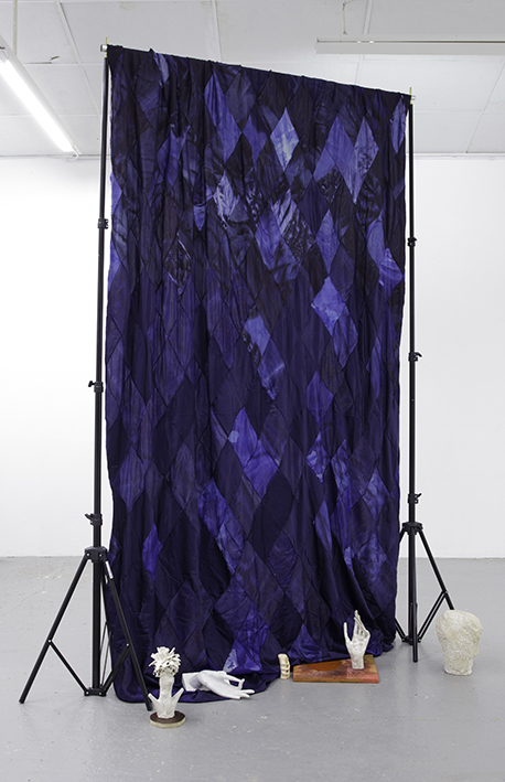Blue Parts  dyed silk, white marble, marble foil, jesmonite, stained wood, clay, paints, dimensions variable 2015