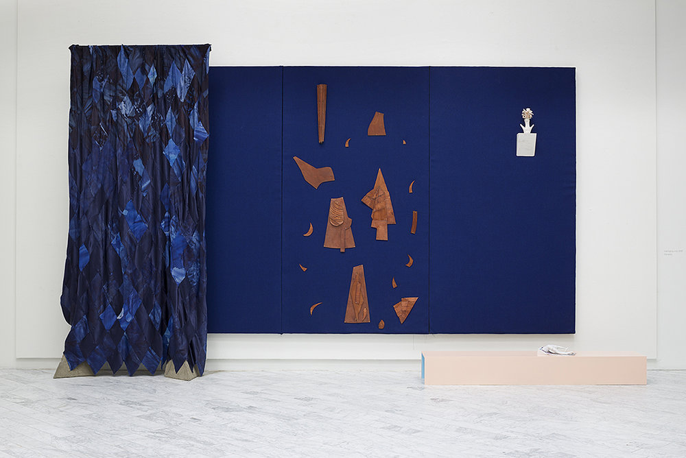 Blue Wall (Dressing Room)  dyed silk, furniture textile, jesmonite, wood, copper, concrete, stainless steel.  580 x 320 cm.   2014