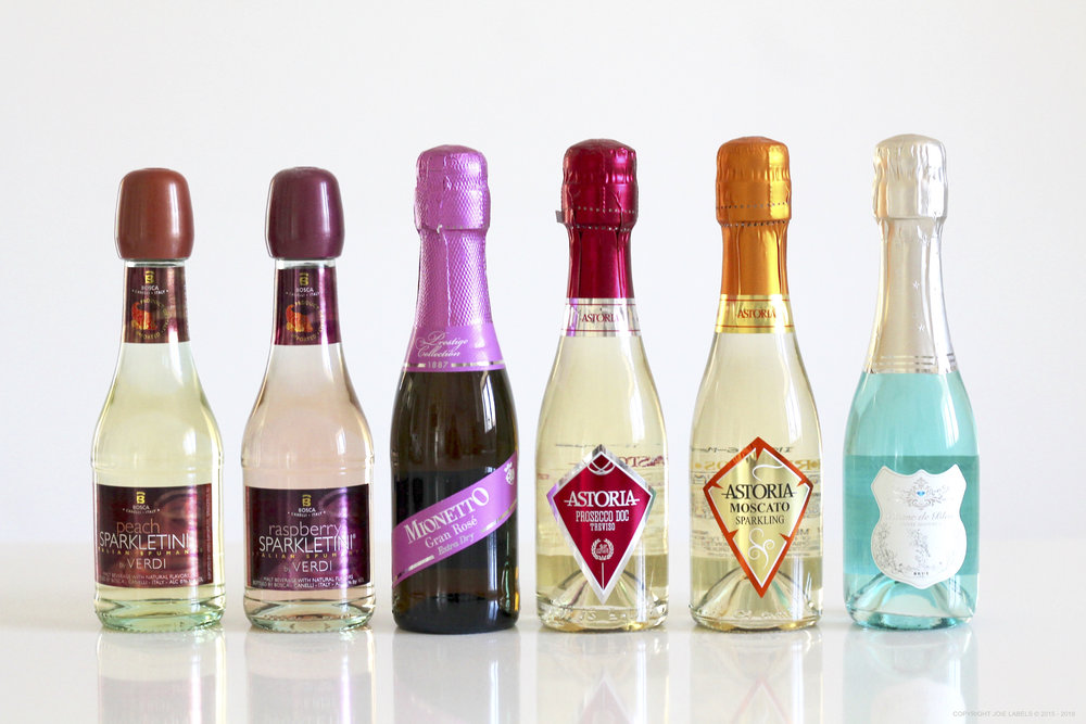 SPARKLING CHAMPAGNE MINI BOTTLES FOR PERSONALIZED LABELS WEDDING