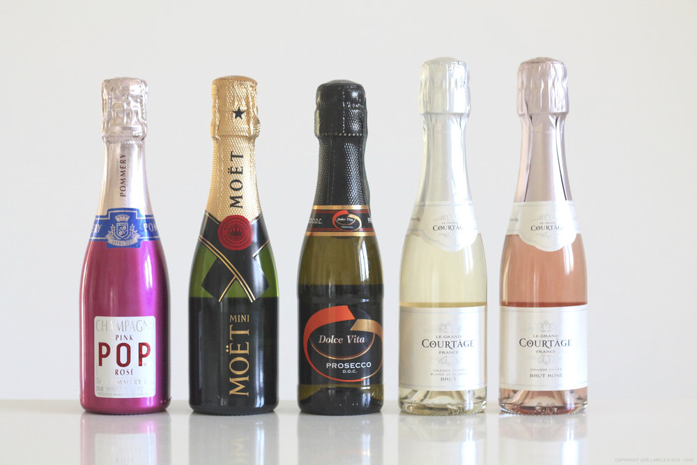 FROM LEFT TO RIGHT:  Pommery Pop Rosé, Moet, Dolce Vita Prosecco, Le Grand Courtage Brut, Le Grand Courtage Brut Rosé