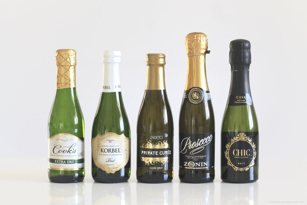FROM LEFT TO RIGHT:  Cook's Extra Dry, Korbel Brut, Zardetto Cuvee Brut, Zonin Prosecco, Chic Barcelona Brut