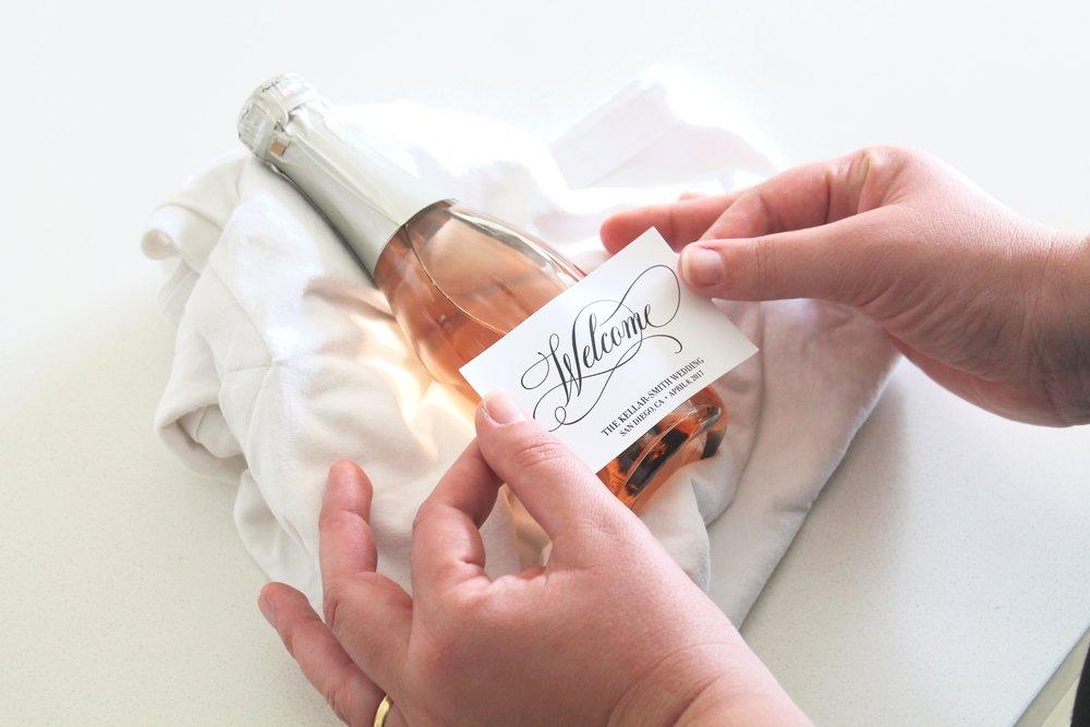Applying Custom Mini Champagne Labels
