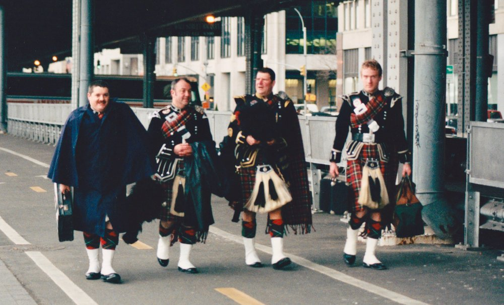 Only we could play at the launch of a bus company and have to walk back to the hotel.    Left to right: Davy Elder, Les Watson, Me and Matt Donaldson