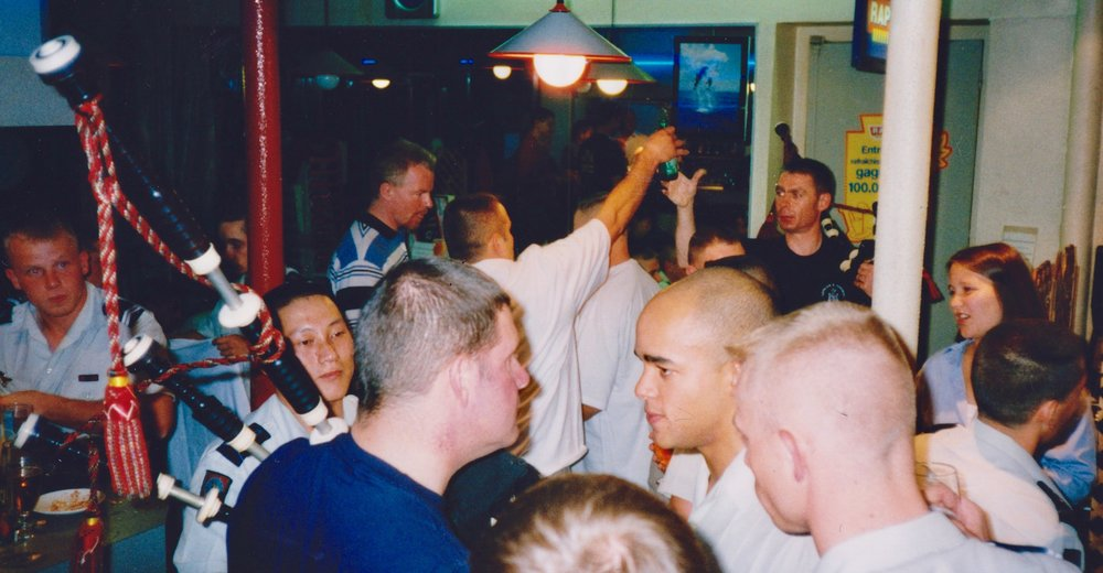 Entertaining the French Foreign Legion in a bar in St Etienne. The police were called to stop the party. We explained we were the police.