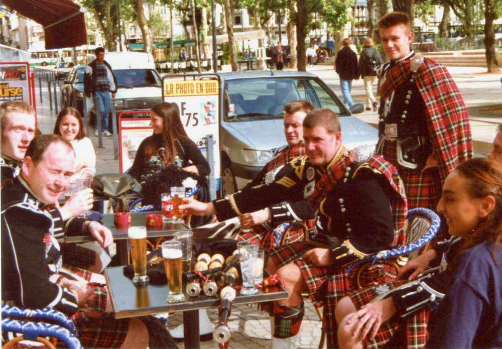 Piping is hard work. A relaxing beer after the parade