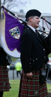 """A sad day. The final parade of Lothian and Borders Police Pipe band and the end of the Force as it merged into Police Scotland. I was invited back as a guest to play. Fittingly the last tune to be played was the Donald Shaw Ramsay composition """"Angus McKinnon""""    March 2013"""
