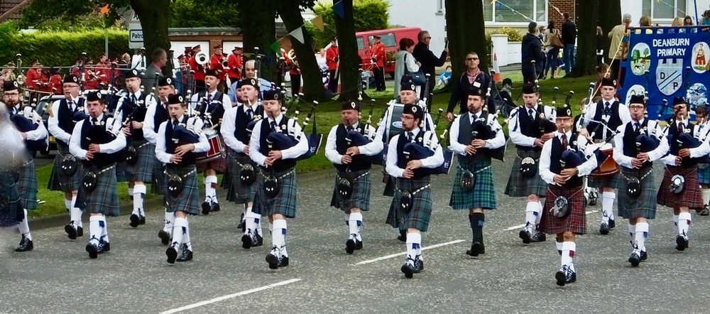 On the March at the famous Bo'ness Fair. An early start at 7am followed by a lengthy parade through the town in the afternoon.However a very fine BBQ later in the day at the Simpson household cured all aches and pains.