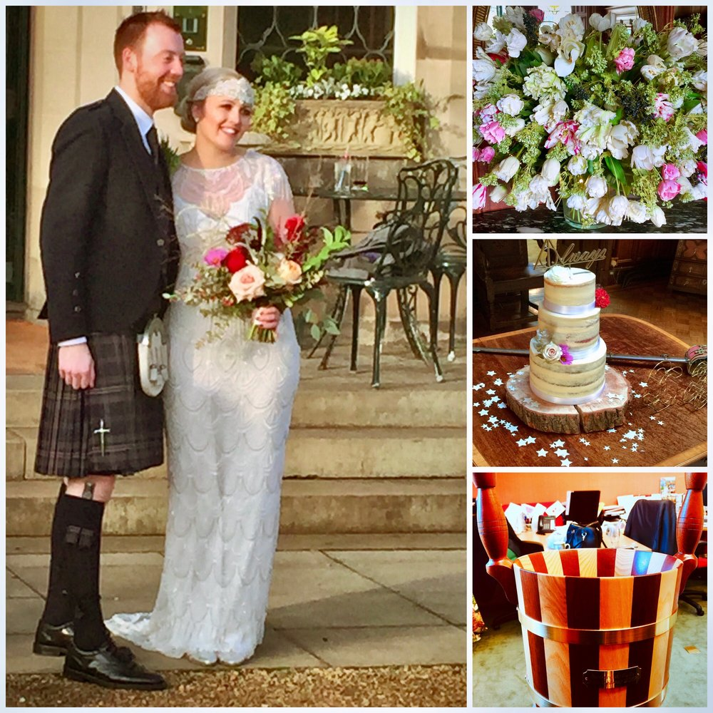 Dundas Castle. Bottom right is a traditional Orcadian drinking vessel the the bride and groom take round to their guests
