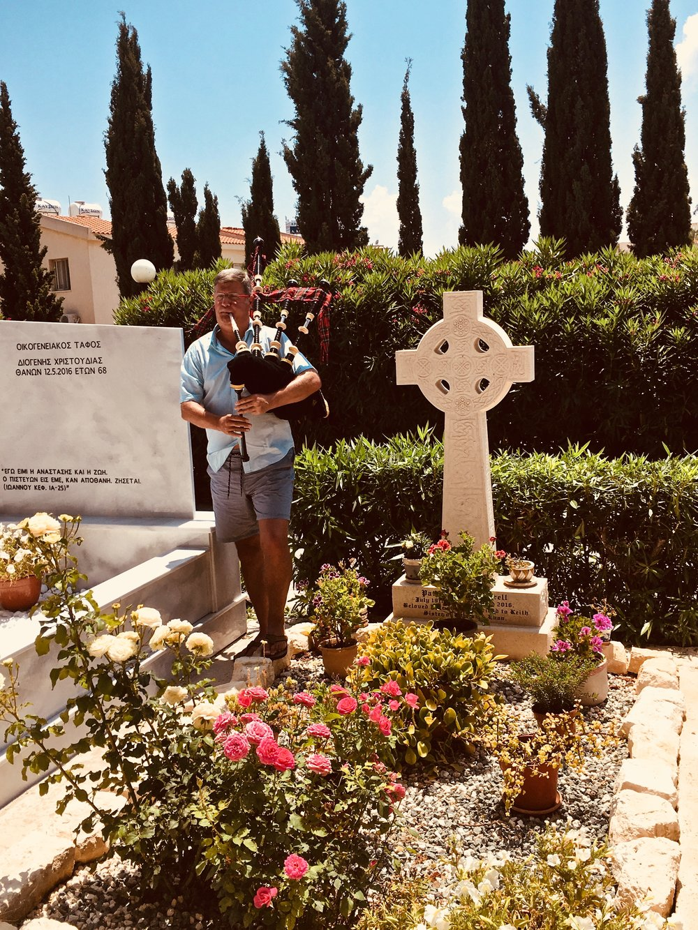 A tune at my sisters graveside in Cyprus. Patricia 'Tish' loved the pipes