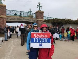 Two of our LWV Bloomington members registering voters