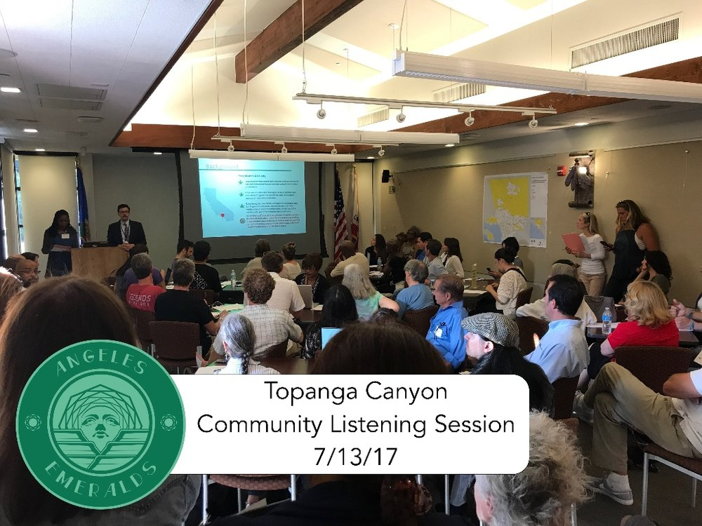 Topanga Canyon   Primary Concerns:   1) Cultivation:  Allowing Outdoor Cultivation in Agricultural Zones   2) Safe Access for Patients:  Finding ways for responsible operators to provide safe access to patients until licensing becomes available