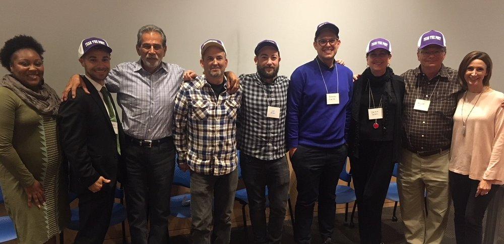 Whittier College Professor Dan Duran and staff, along with Angeles Emeralds members Jonatan Cvetko, Joe Papa, and John Bowman.