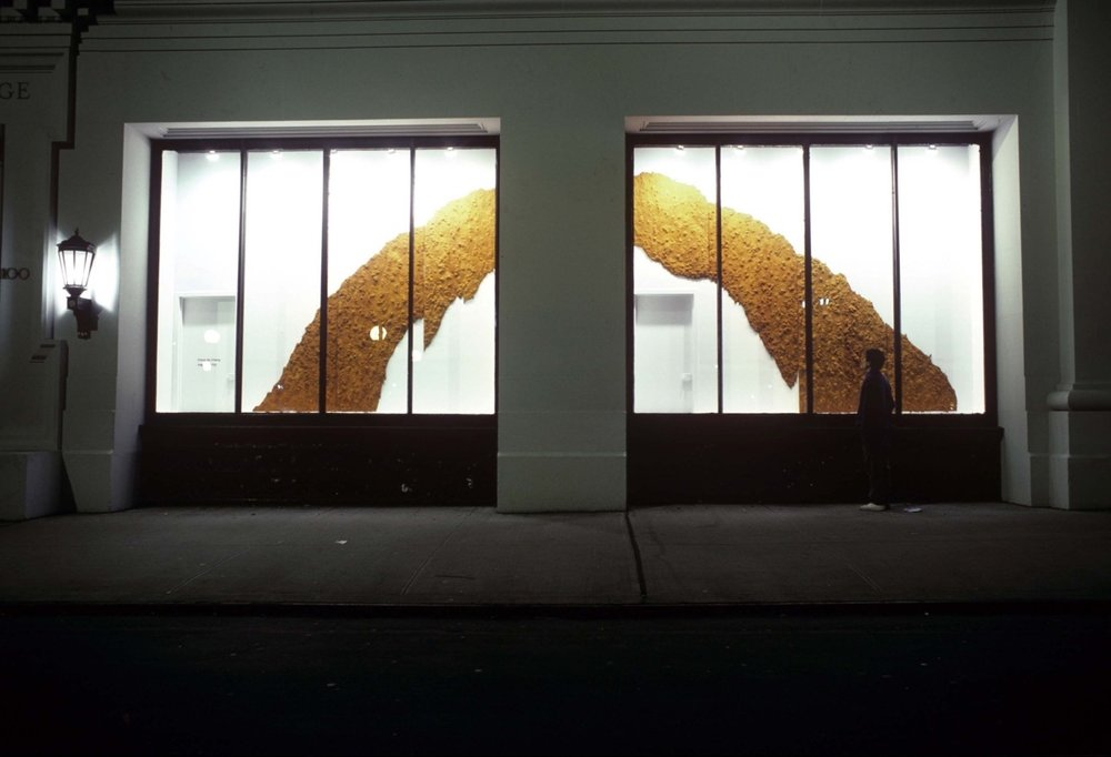 "NYU Grey Art Gallery Installation with artist.       ""The Grotto,"" 1987.  Iron oxide on torn rag paper. 10' 9 x 28' 8"