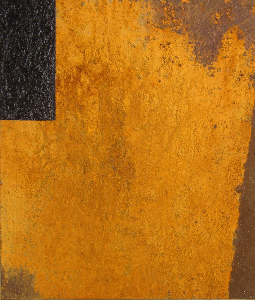 Untitled, 1988.  Iron oxide and acrylic on canvas.  26 x 30 1/4""