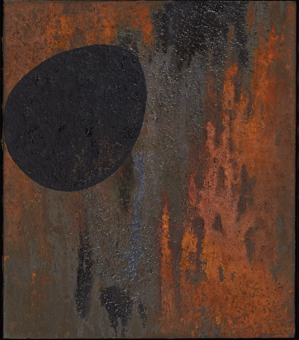 Untitled, 1988.  Iron oxide and acrylic on canvas.  26 x 30""