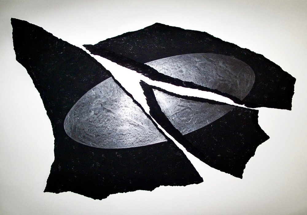 """Untitled, 1985.  UFO Series. Charcoal and graphite on torn rag paper.  40 x 30"""""""