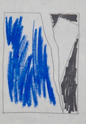 Untitled, 1985. Pencil, pastel and marker on Chelsea Hotel stationery.  9 1/2 x 6""