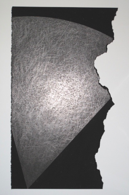 Untitled, 1985.  Prism Series. Charcoal and graphite on torn rag paper.  30 x 17 1/2""