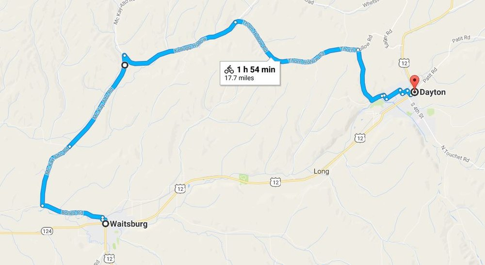 Waitsburg to Dayton - This 17.7 mile ride Starting in Waitsburg has 1,230 foot elevation climb coming down 830 feet to end in Dayton