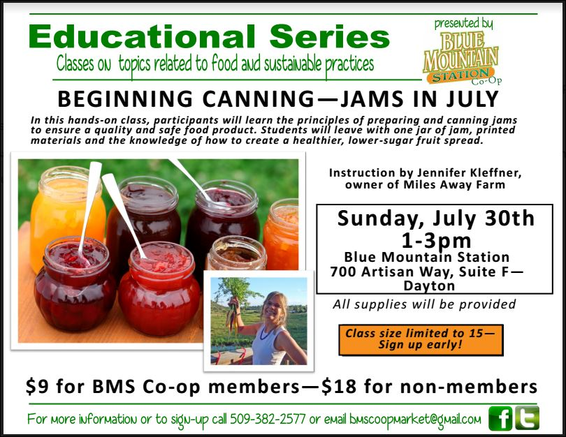 There are a few spaces open for this Sunday's  Jams in July  class!    If you know of anyone who is interested, register  here .