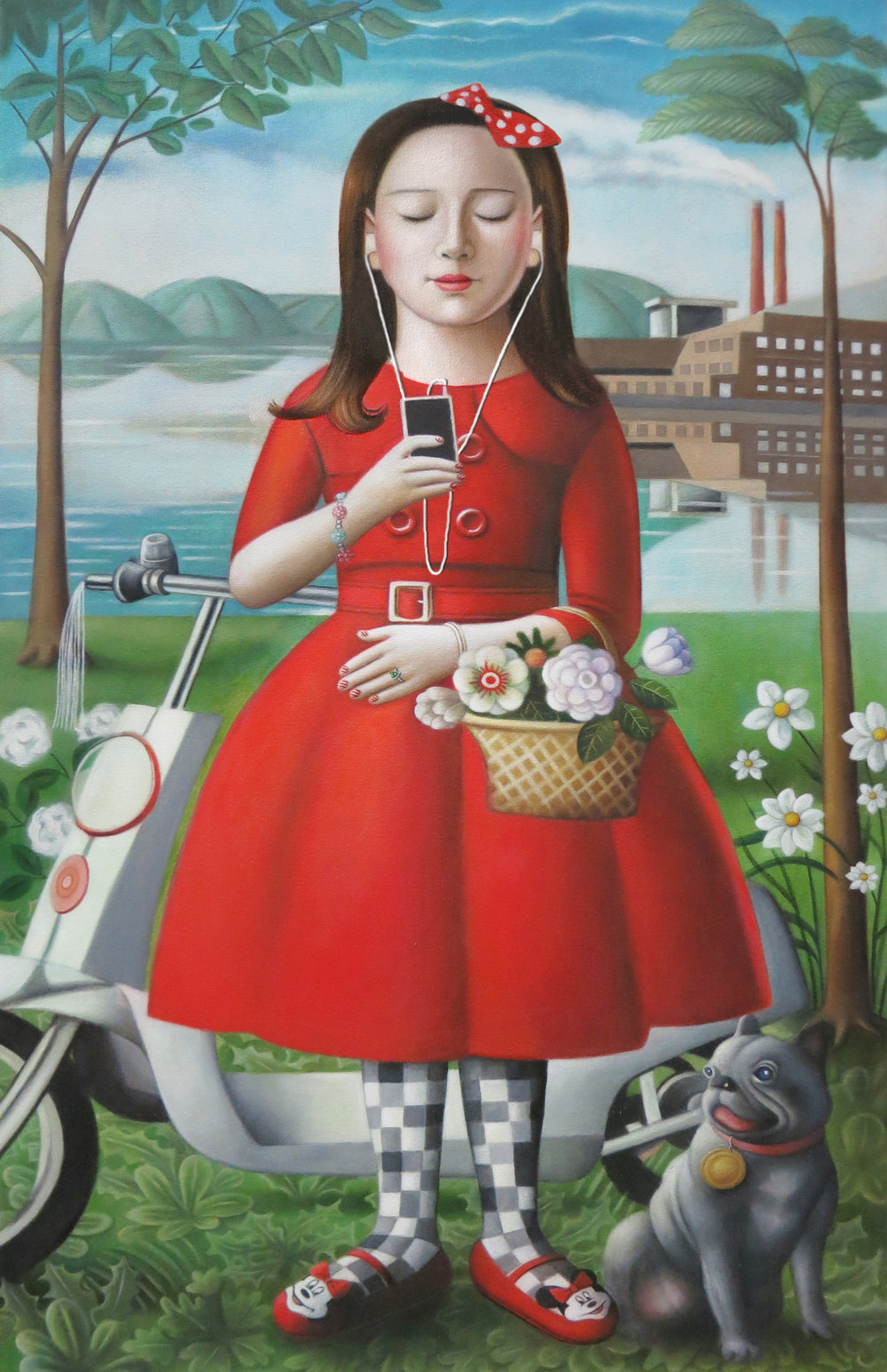 """""""Girl With Skooter"""" oil on canvas,24""""x 38"""""""