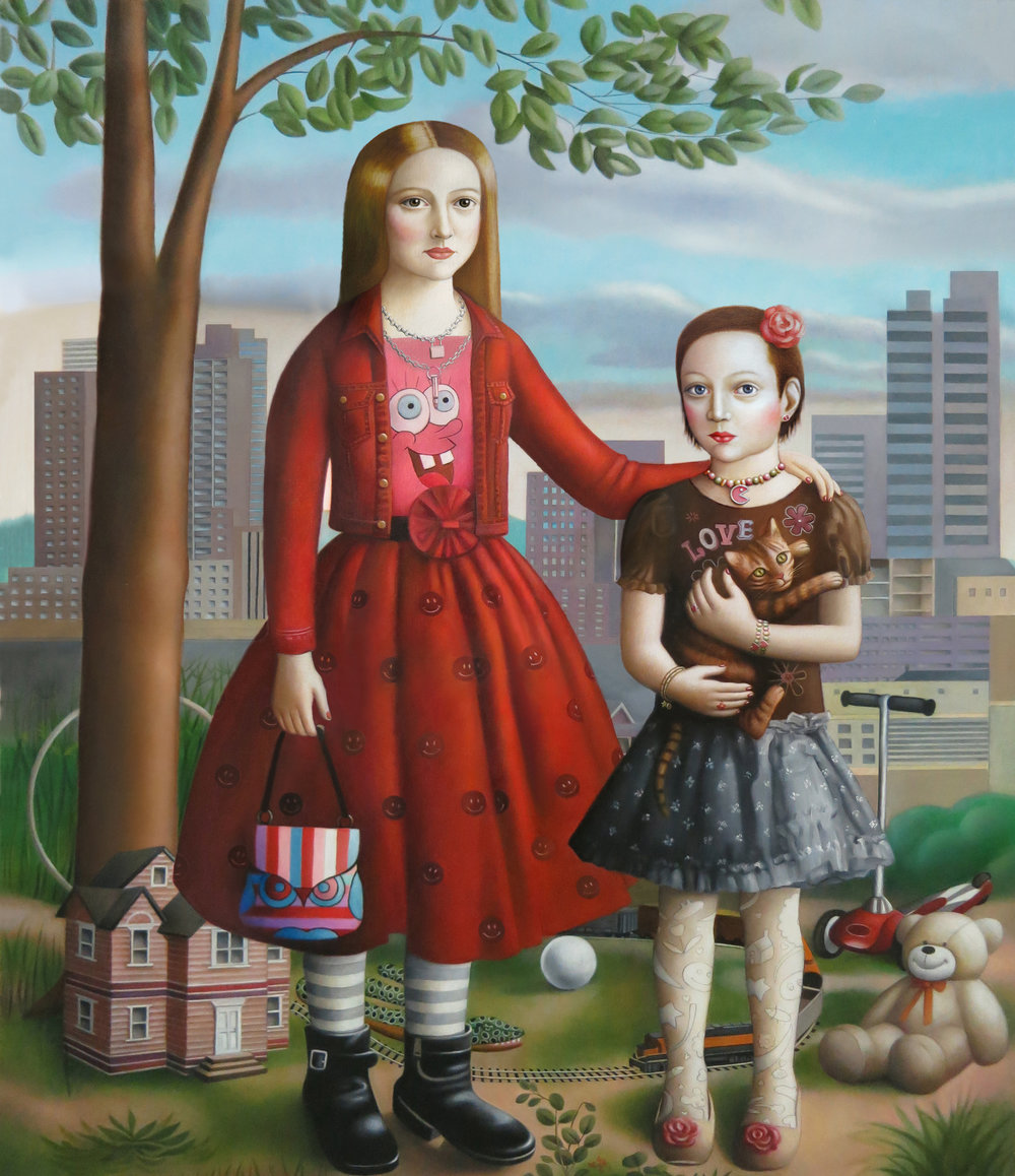"""""""Two Girls with Toys"""" oil on Canvas, 52""""x 44"""""""