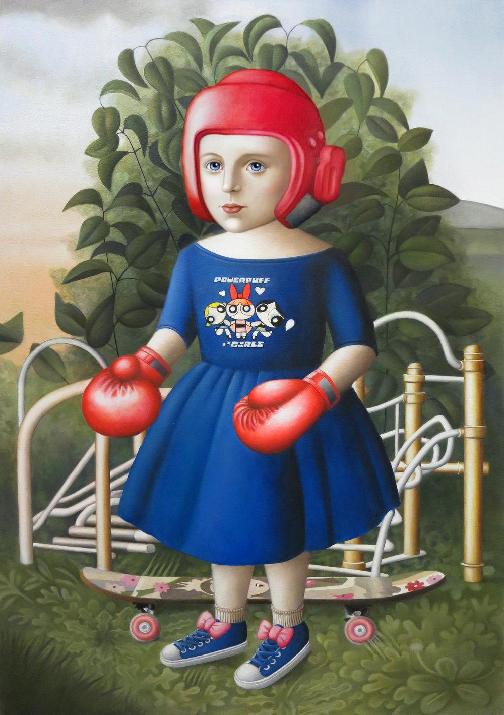 """""""Gym Girl"""" oil on canvas, 24""""x 36"""""""
