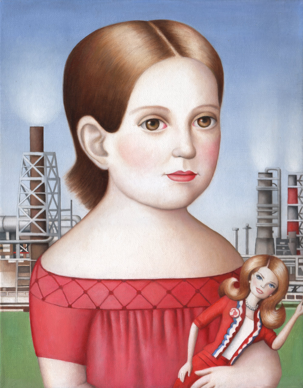 """""""Girl With Doll"""" oil on canvas,11""""x 14"""""""