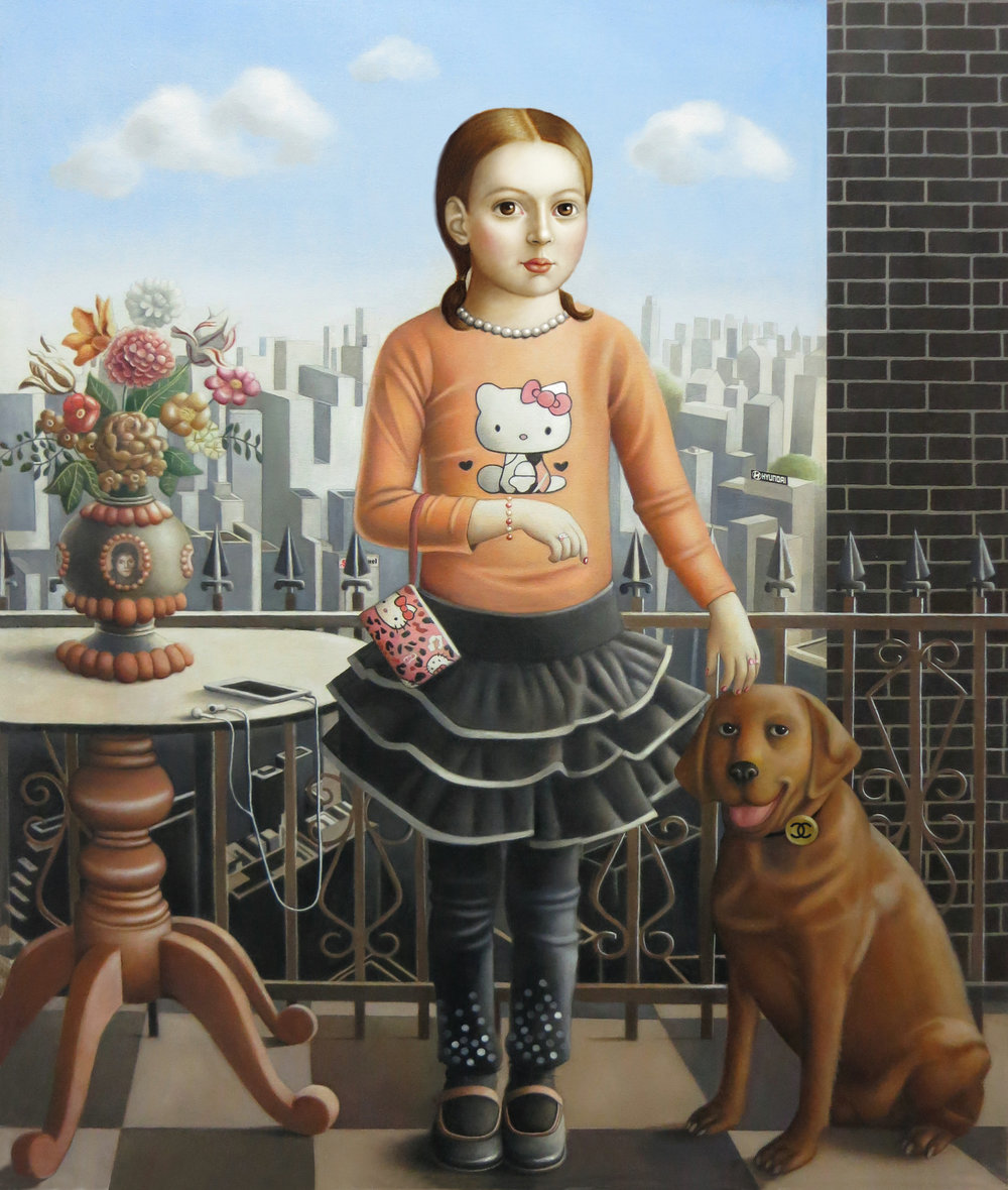 """""""Girl With Dog"""" oil on canvas, 31""""x 38"""""""