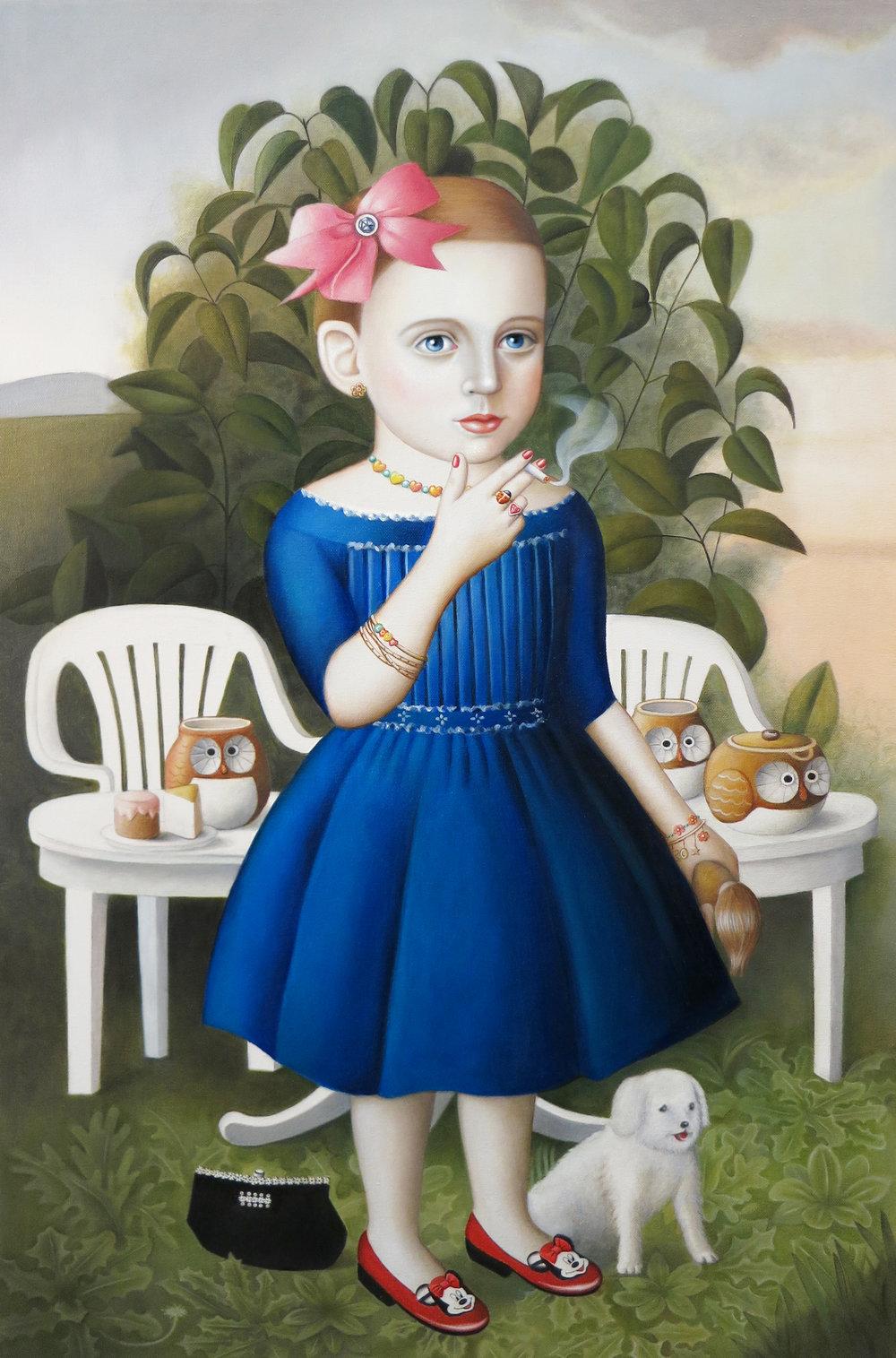 """""""Girl With Tea Set"""" oil on canvas,24""""x 36"""""""