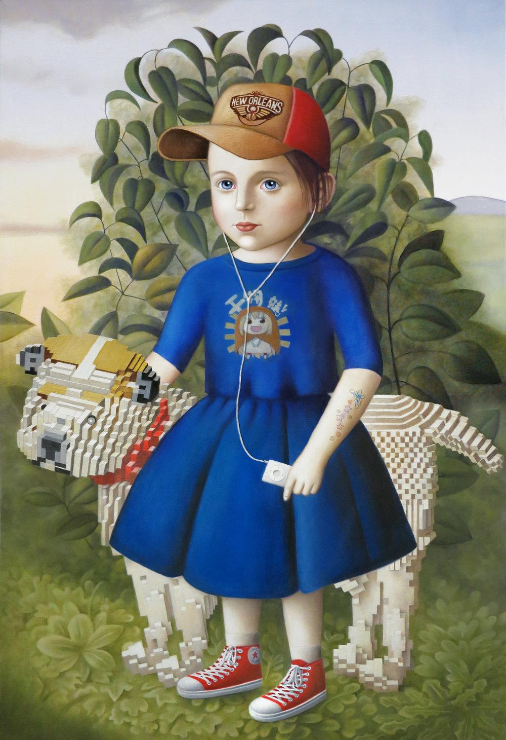 """Girl With Lego Dog""oil on canvas,24""x 36"""