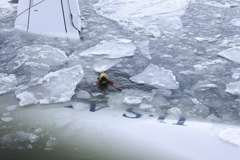 """Diver in Icy Water"" C-Print photograph"