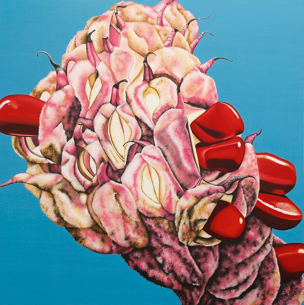 "Emily Roz, ""Just the Tip"" oil on panel 36""x36"""