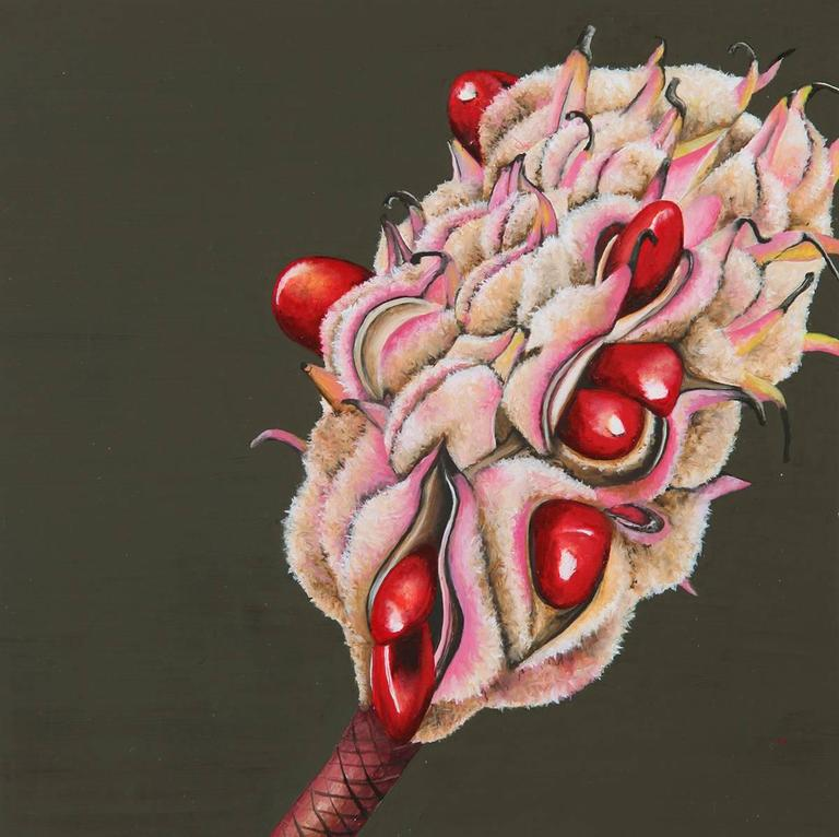 "Emily Roz, ""Seed Pod One"" oil on panel 6""x6"""