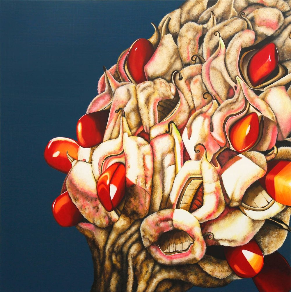"Emily Roz, ""Ripe"" oil on panel 36""x36"""