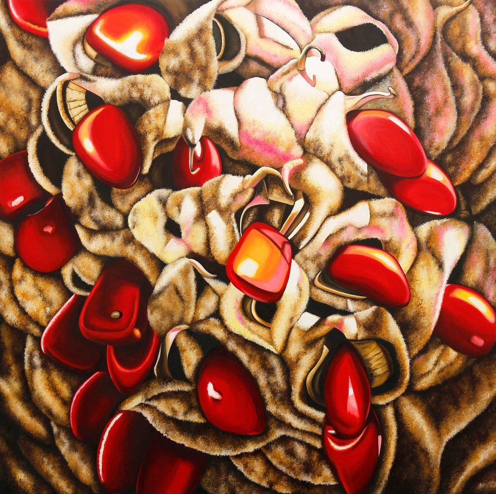 "Emily roz, ""Spooning"" oil on panel 36""x36"""