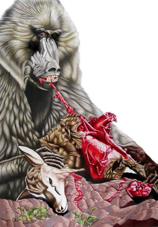 "Emily roz, ""Baboon Eating Gazelle"" oil on panel, 30""x 44"""