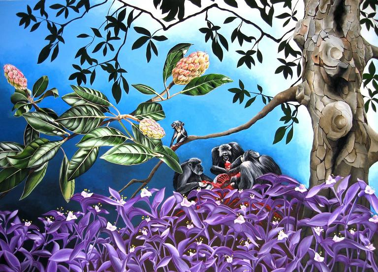 "Emily roz, ""Predator Chimps with Wandering Jew"" acryla gouache on paper, 30""x41"""