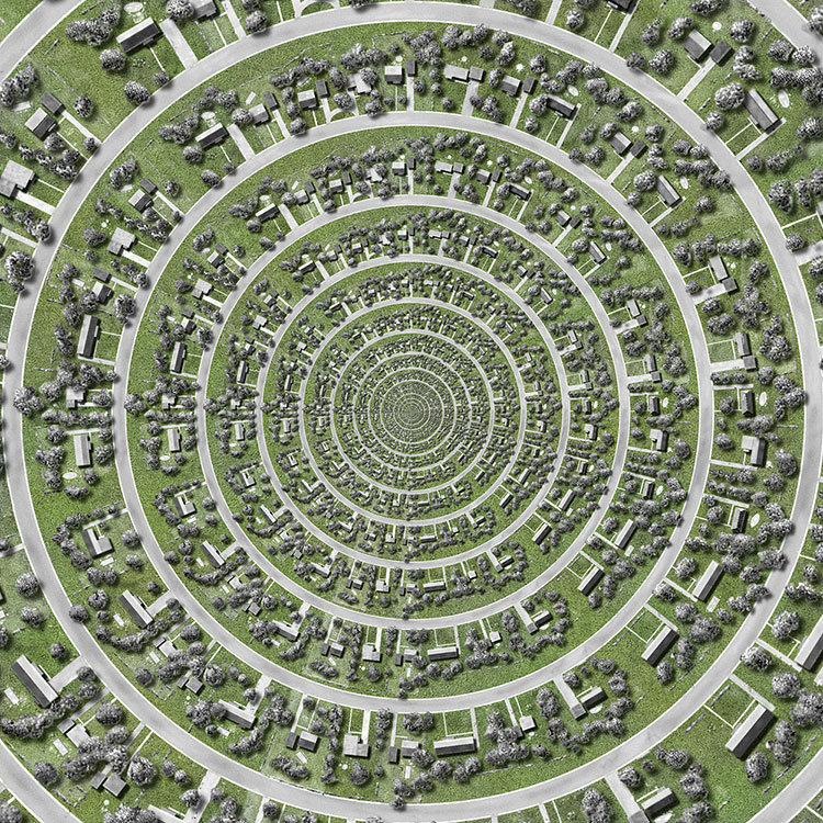 "Ross Racine, ""West Concentric Estates"" edition of 20, 12""x 12"""