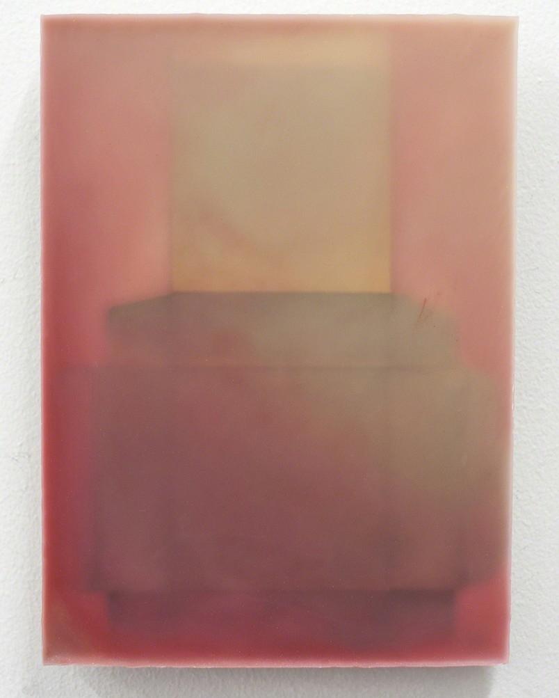 """Victoria Jackson"" paraffin, beeswax, cardboard box on wood, 8 3/4""x 6 1/4"""