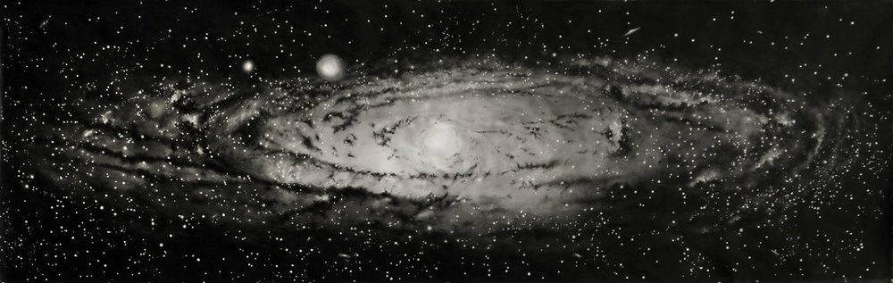 """""""Andromeda"""" Galaxy Painting, 2018   Large scale watercolor on paper  44 × 136 in; 111.8 × 345.4 cm"""