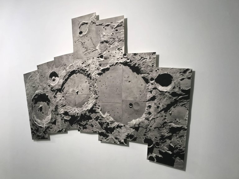 """Thomas Broadbent, """"Lunar Crater Chain"""" watercolor on paper panels, 42""""x65"""""""