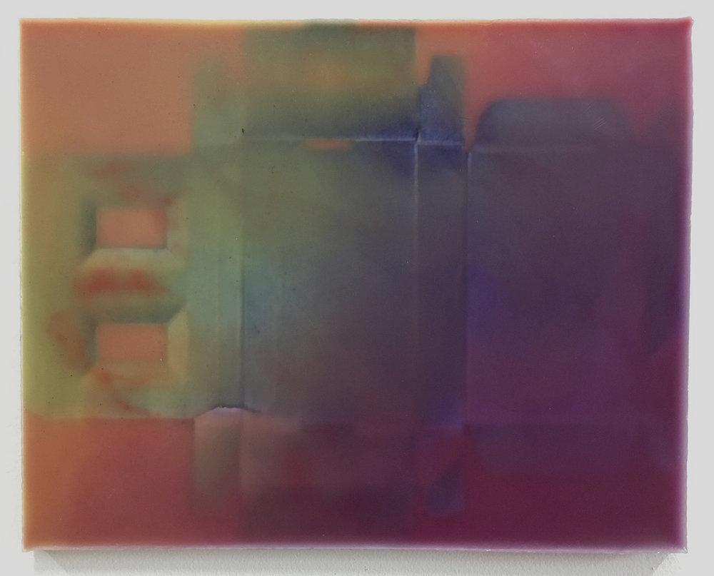 Joanne Ungar,  Harrys , 2017 Wax, cardboard, wood 12 × 16 in; 30.5 × 40.6 cm
