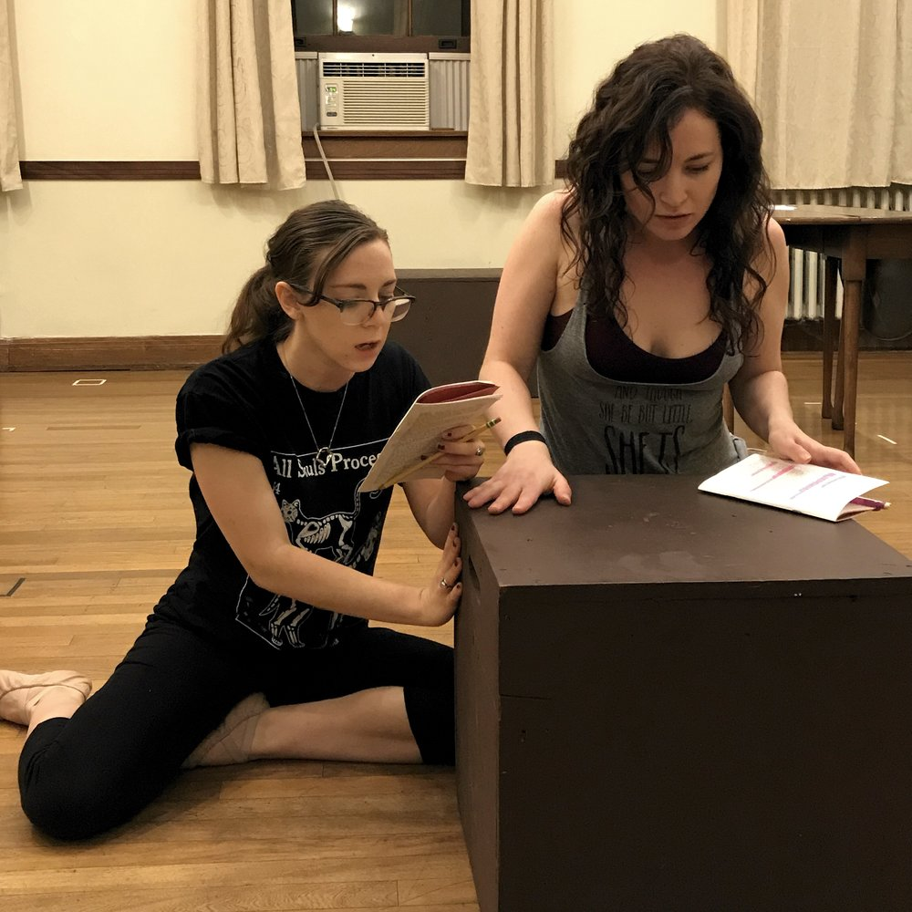 """""""You were humming like something lightening'd struck alive."""" The Redhead (Gabrielle DeBrequette)and Gowdie (Bryn Booth) tell dreams in a blocking rehearsal for The Love Talker"""