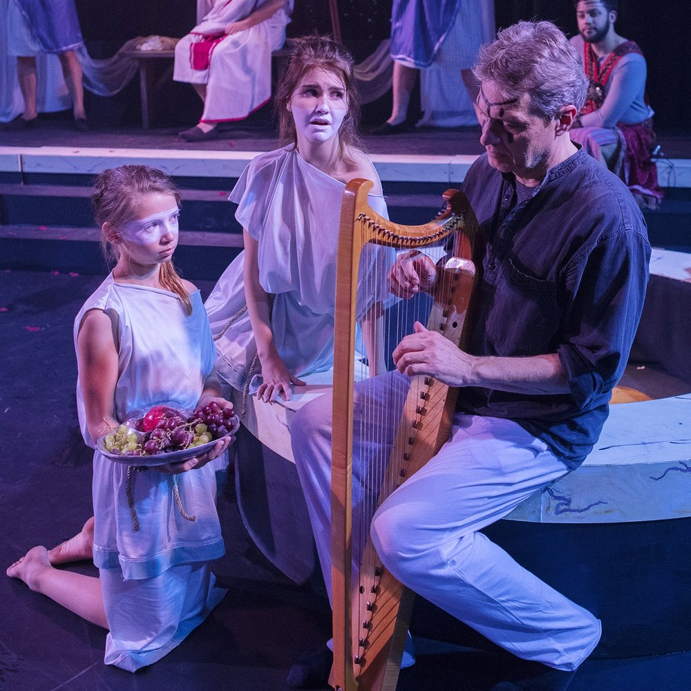 Music Director Paul Amiel with Grace Otto and Willow Falcón in  Oscar Wilde's Salomé.