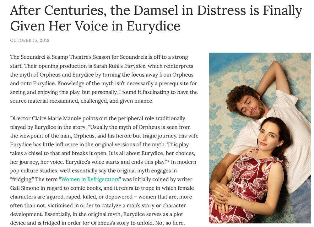 After centuries, the damsel in distress is finally given her voice in Eurydice ,   Taming of the Review