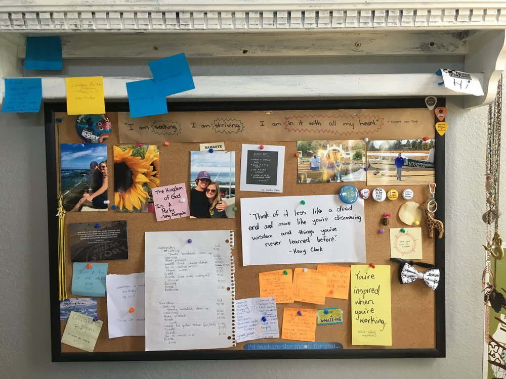 I loooove this cork board over my desk! I fill it with what/who I love, things that spark my creativity and joy, and reminders and organizing tools for jobs I need to get done and next steps I need to take.