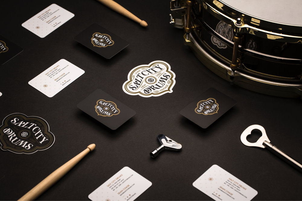 Design-by-diamond - Salt-city-drums - Business cards and stickers